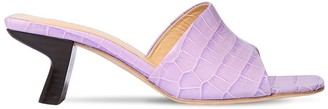 BY FAR 50mm Lily Croc Embossed Leather Sandals
