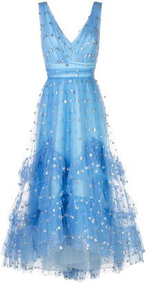 Marchesa Polka Dot Print Tulle Gown