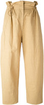 Stella McCartney paperbag wide leg trousers - women - Cotton/Linen/Flax/Polyamide - 42