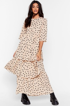 Nasty Gal Womens I'm Out of Tier Polka Dot Maxi Dress - White