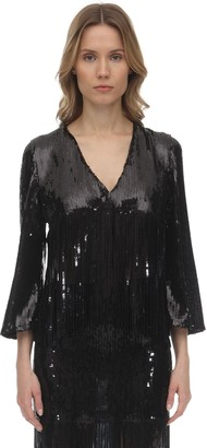 L'Autre Chose Sequins Cropped Jacket W/ Fringes