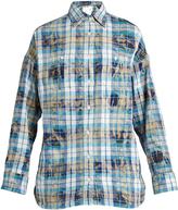R 13 Big Boy distressed-plaid cotton shirt