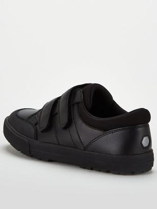 Very Boys Twin Strap Leather School Shoe - Black