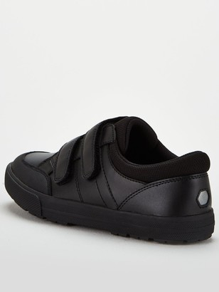 Very ToeZone at Older Boys Twin Strap Leather School Shoe - Black