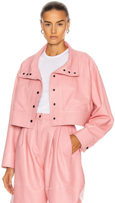 CARMEN MARCH Cropped Leather Jacket in Light Pink | FWRD