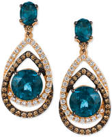 LeVian Le Vian® Chocolatier London Blue Topaz (7-3/4 ct. t.w.) and Diamond (1-1/3 ct. t.w.) Interlocking Teardrop Drop Earrings in 14k Rose Gold, Only at Macy's