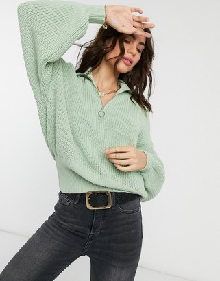 ASOS DESIGN zip front jumper with collar in pale green