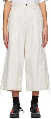 Y's Ys Off-White Back Tuck Trousers