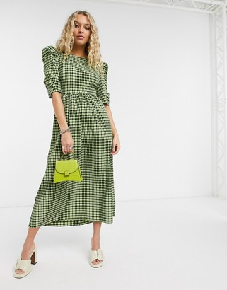 Topshop cross back midi dress in lime gingham