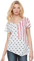 Rock & Republic Women's Flag Asymmetrical Tee