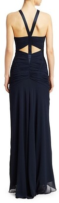Halston Sleeveless Georgette Ruched Gown