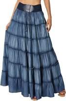 TheMogan Women's Casual Tiered A-Line Denim Long Maxi Skirt