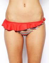 Marie Meili Marie Melli Aquarius Stripe Bikini Bottom With Contrast Frill