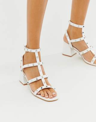 Public Desire Always white studded mid heeled sandals