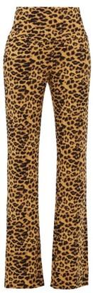 Norma Kamali Leopard-print Flared-leg Jersey Trousers - Womens - Leopard