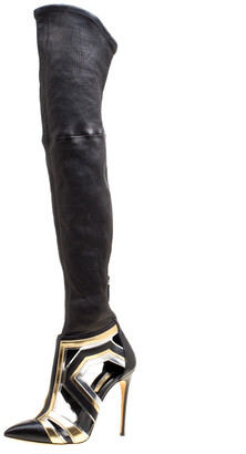 Casadei Multiclor Leather Cut Out Over The Knee Boots Size 40