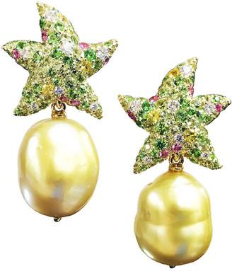 Margot Mckinney Jewelry 18k Diamond Starfish Pearl-Drop Earrings
