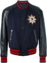 Alexander McQueen leather sleeve bomber jacket - men - Calf Leather/Polyester/Viscose/Wool - 48