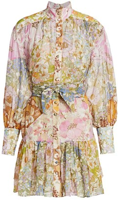 Zimmermann Super Floral Print High-Neck Mini Dress