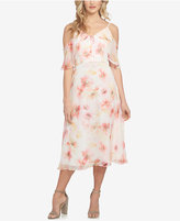 CeCe Floral Cold-Shoulder Chiffon Midi Dress