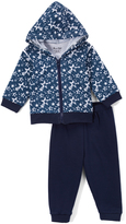 Sweet & Soft White & Navy Stars Hoodie & Pants - Infant