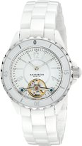Akribos XXIV Women's AK524WT Ceramic Oversized Automatic Open Heart Watch