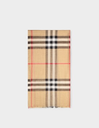 Burberry Giant Check Gauze Scarf in Archive Beige Wool and Silk