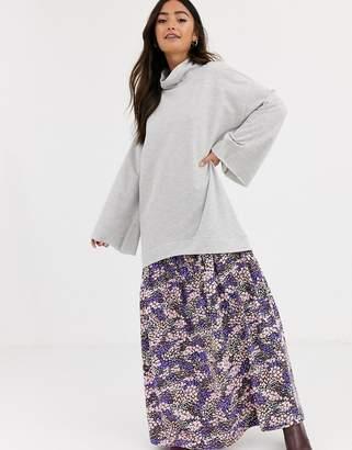 Asos Design DESIGN sweat dress with floral print hem-Gray