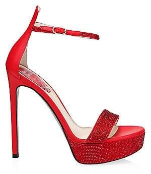 Rene Caovilla Women's Celebrita Crystal-Embellished Satin Platform Sandals
