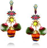 Swarovski MARIO TESTINO FOR MATE by VICKISARGE gold-plated, crystal and pompom clip earrings