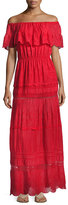 Alice + Olivia Pansy Embroidered Off-the-Shoulder Boho Maxi Dress, Bright Red