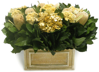 Bougainvillea Banksia Wooden Rectangular Weathered Antique Container