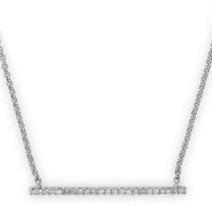 "Effy Diamond Bar Necklace (1/10 ct. t.w.) in 14k White Gold, 16"" + 2"" extender"