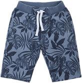 Petit Lem Leaf-Print Knit Drawstring Shorts, Navy, Size 5-6X