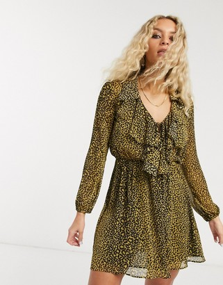 Topshop ruffle front mini dress in mustard animal print