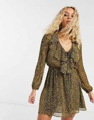 Topshop ruffle front mini dress in mustard animal print