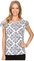 Adrianna Papell Print Embroidered Eyelet Blouse