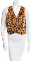 Adrienne Landau Fur-Embellished Button-Up Vest