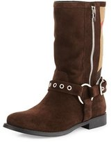 Burberry Grantvision Suede & Check Boot, Sepia Gray