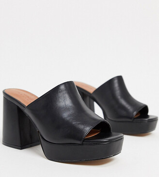 ASOS DESIGN Wide Fit Hypnotise chunky platform mules in black