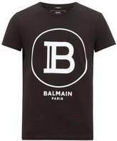 Balmain - Flocked Monogram Cotton Jersey T Shirt - Mens - Black