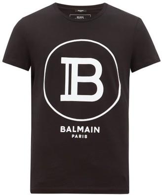 Balmain Flocked-monogram Cotton Jersey T-shirt - Mens - Black
