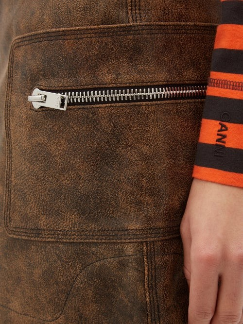Thumbnail for your product : Ganni High-rise Leather Skirt - Brown