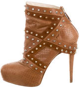 Brian Atwood Snakeskin Stud-Embellished Booties