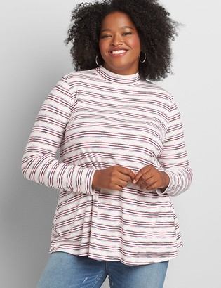 Lane Bryant Mock-Neck Long-Sleeve Swing Tee