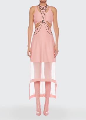 Alexander McQueen Rib-Knit Cutout Mesh High-Low Dress