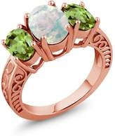 Gem Stone King 2.20 Ct Oval Cabochon White Simulated Opal Green Peridot 18K Rose Gold Plated Silver Ring