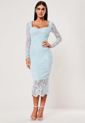 Missguided Blue Lace Long Sleeve Milkmaid Midi Dress
