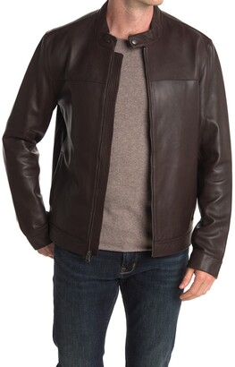 Cole Haan Classic Bonded Leather Moto Jacket