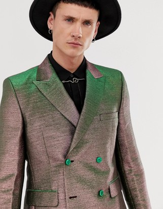 Asos Edition EDITION slim double breasted suit jacket in pink two tone metallic